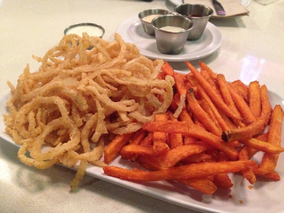 Onion strings and sweet potato fries!