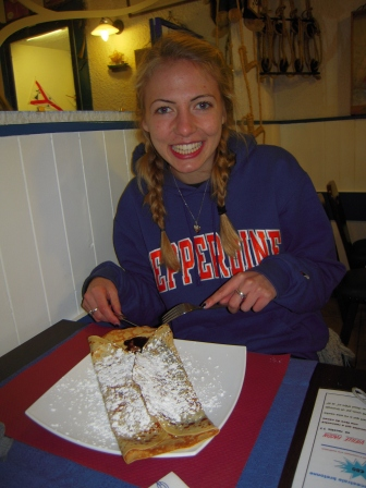 Eating a nutella crepe in France!