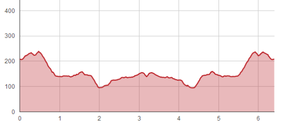 Elevation map of the course